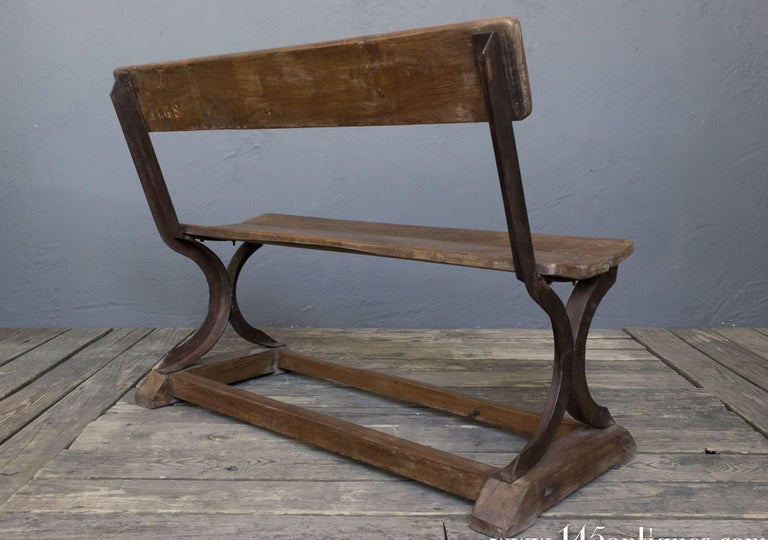 Iron and Wood Bench For Sale 2