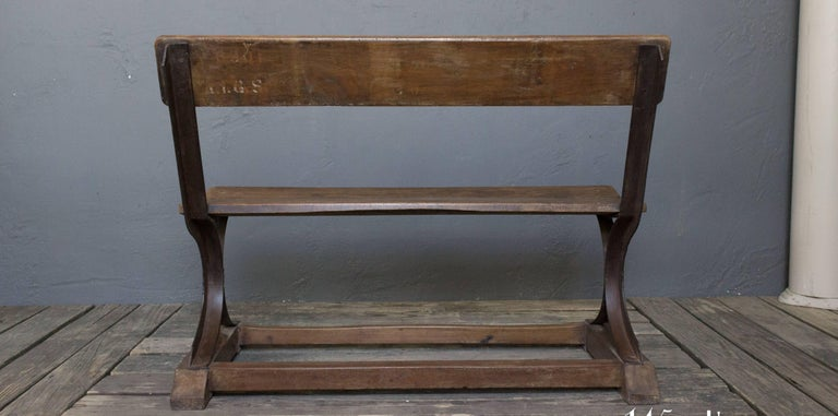 Iron and Wood Bench For Sale 3