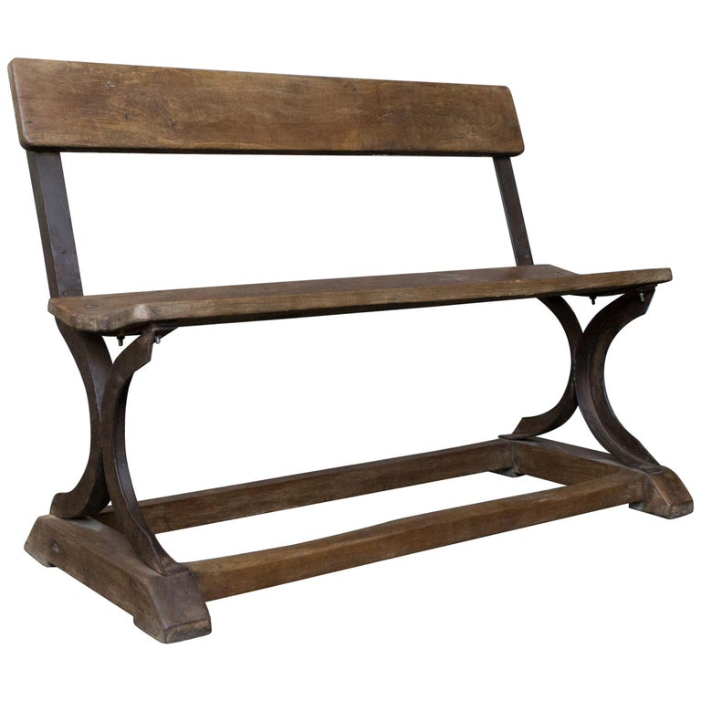 Iron and Wood Bench For Sale