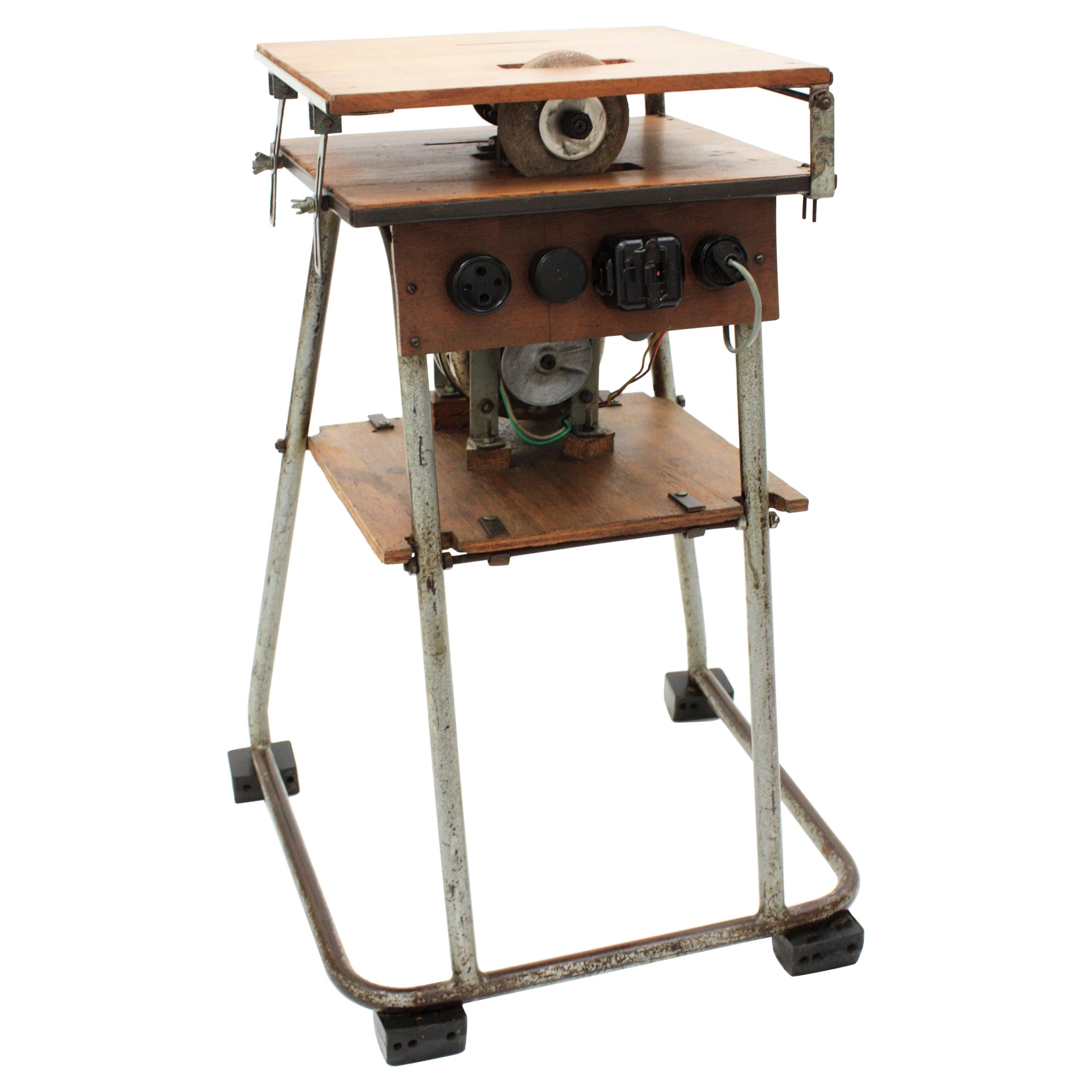 Craftsman Industrial Table Saw as Side Table, Iron and Wood