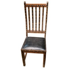 Decorative Iron and Wood Single Chair With Leather Seat, India, 19th Century