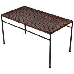 Iron and Woven Leather Strap Bench in the manner of Swift and Monell