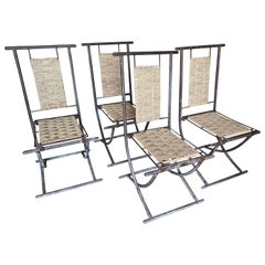 Iron and Woven Wicker Dining Chairs, Set of 4, France