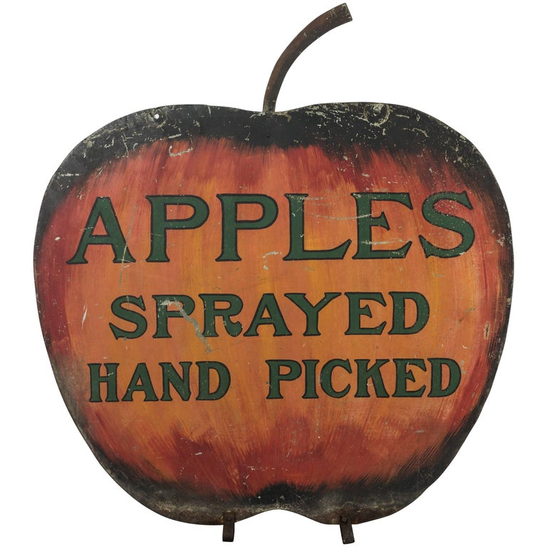 Iron Apple Orchard Folk Art Trade Sign For Sale