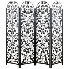 Iron Arched Top Four-Panel Folding Screen, 20th Century