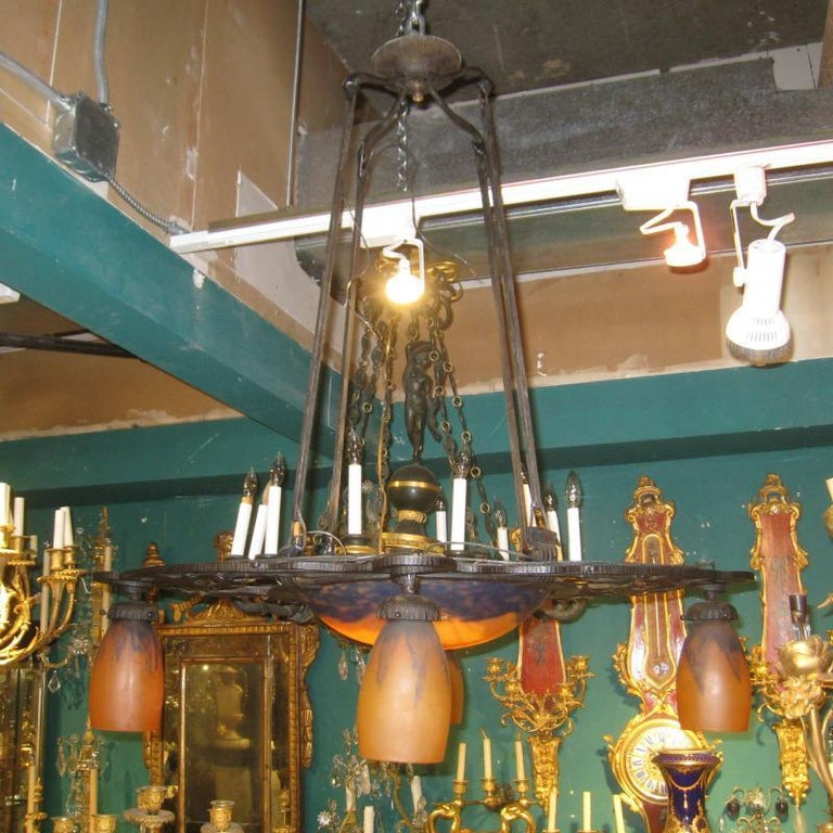 French Iron Art Deco Chandelier with Daum Glass Shades For Sale