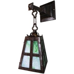 Iron Arts & Crafts Sconce with Green Slag Glass
