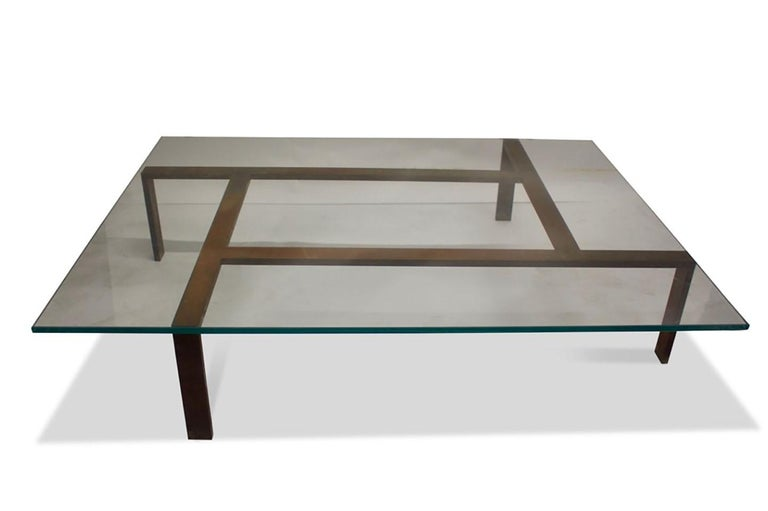 Glass Iron Base Coffee Table For Sale