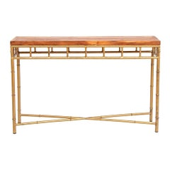 Iron Base Console Table with Reclaimed Teak Top