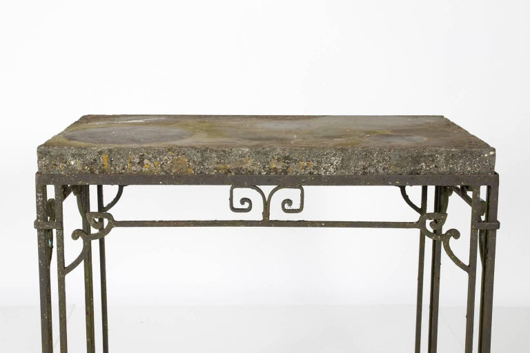 Iron Base Garden Table In Good Condition For Sale In Stamford, CT