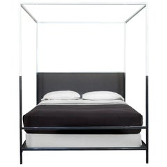 Two Tone Iron Canopy Bed with Linen Headboard, Queen