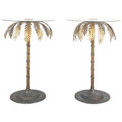 Iron Centre or Side Tables Style Maison Charles Golden Palm Trees, circa 1955