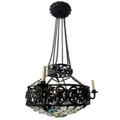 Iron Chandelier with Blue Glass Insets