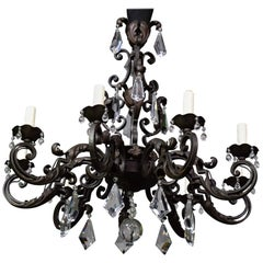 Iron Chandelier with Crystal Pendalogues