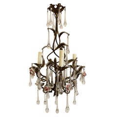 Iron Chandelier with Pink Roses