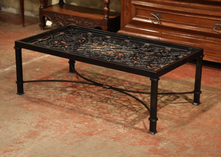 Hand-Crafted Iron Coffee Table Made with 19th Century French Gate Balcony with Glass Top For Sale