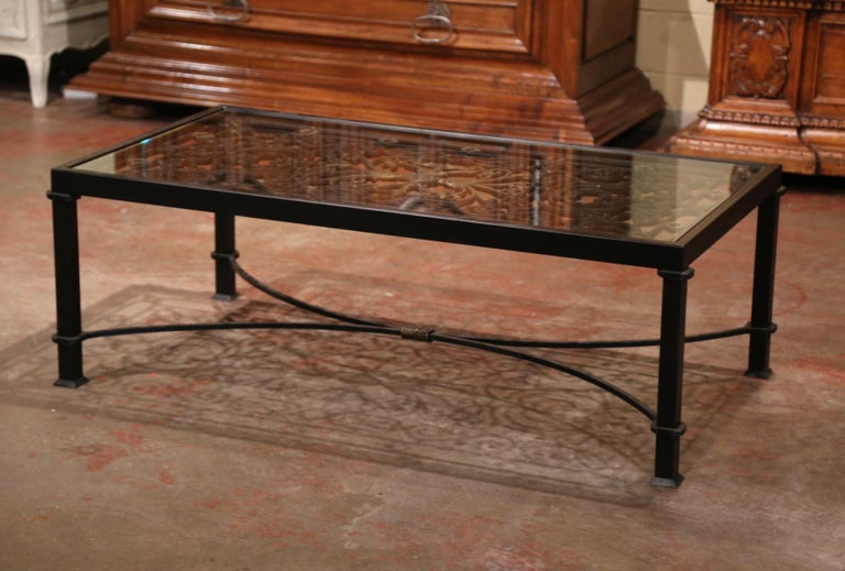 Iron Coffee Table Made with 19th Century French Gate Balcony with Glass Top For Sale 1