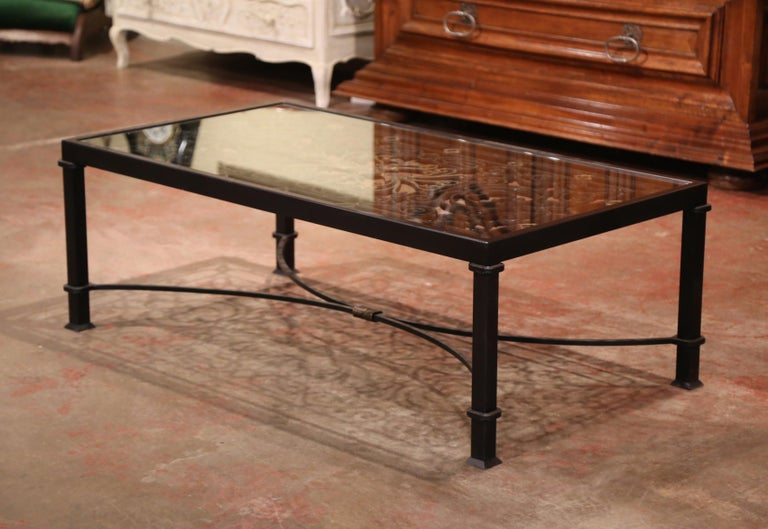 Iron Coffee Table Made with 19th Century French Gate Balcony with Glass Top For Sale 2