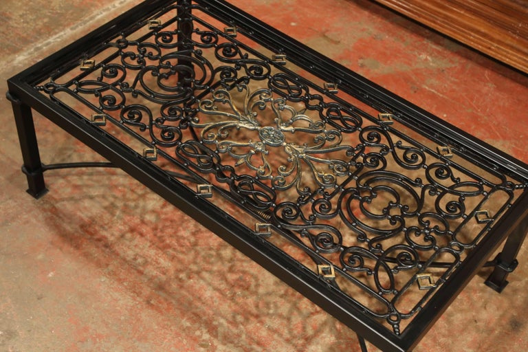 Iron Coffee Table Made with 19th Century French Gate Balcony with Glass Top For Sale 3