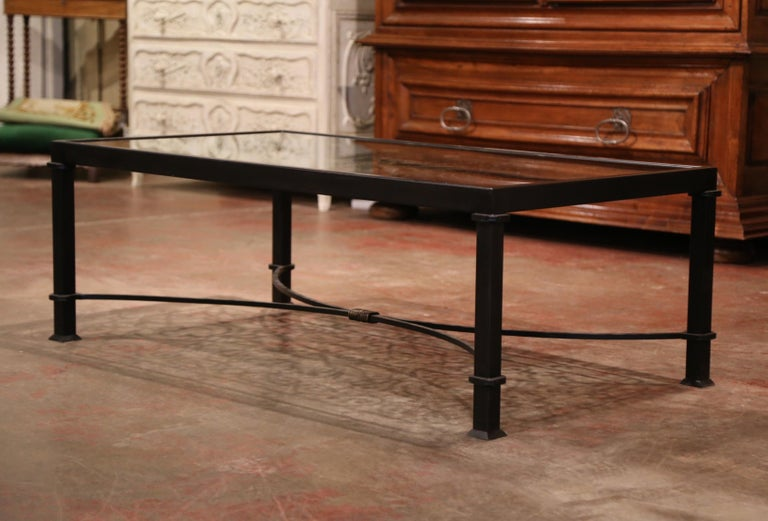 Iron Coffee Table Made with 19th Century French Gate Balcony with Glass Top For Sale 4