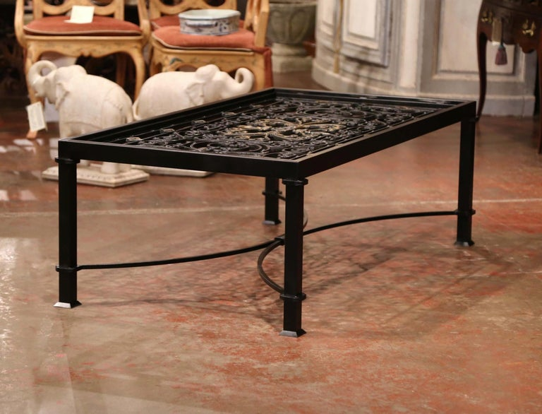 Iron Coffee Table Made with 19th Century French Gate Balcony with Glass Top For Sale 5