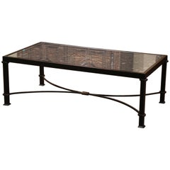 Iron Coffee Table Made with 19th Century French Gate Balcony with Glass Top