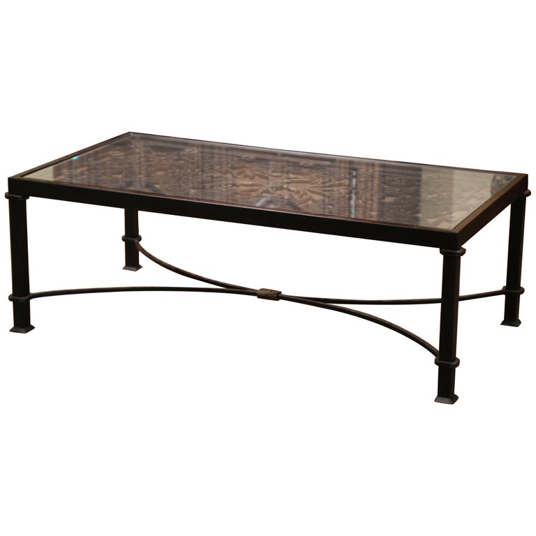 Iron Coffee Table Made with 19th Century French Gate Balcony with Glass Top For Sale