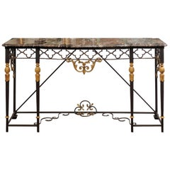 Iron Console Table with Marble Top and Gilt Accents, 20th Century