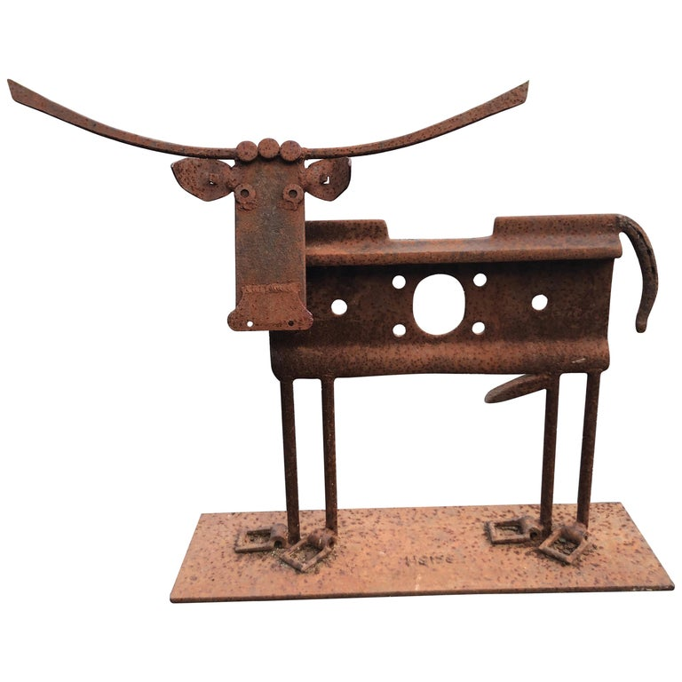 Iron Cow Sculpture Signed Heiss For Sale