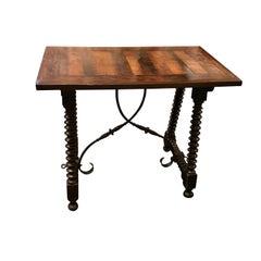 Iron Cross Base Wood Side Table, Spain, 19th Century