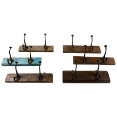Iron Double Coat Hooks on Reclaimed Hardwood, 20th Century