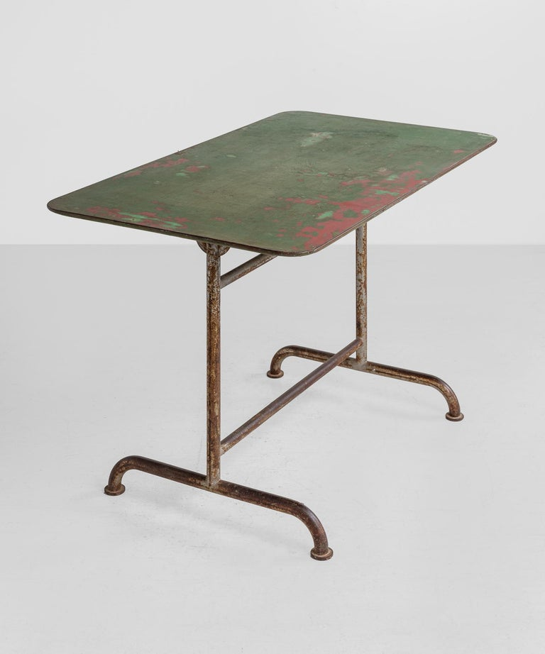 Industrial Iron Factory Table, America, circa 1920 For Sale