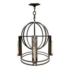 Iron Four-Light Globe Chandelier