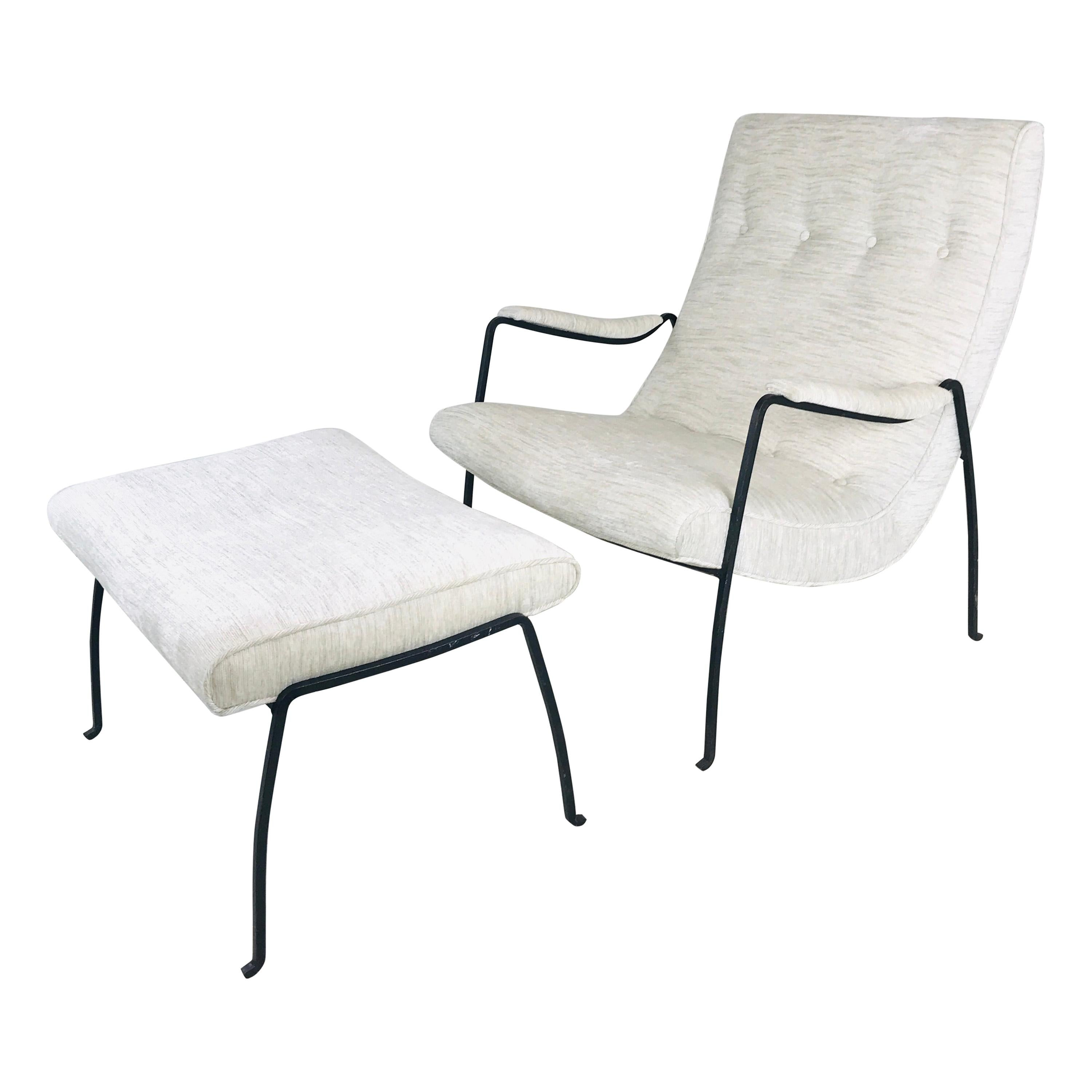 Iron Framed Lounge Chair and Ottoman by Milo Baughman for Pacifica Iron Works
