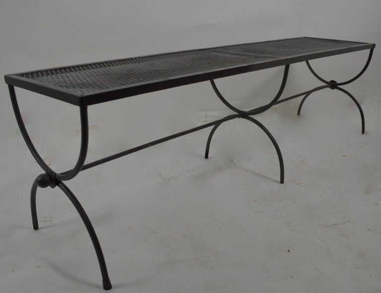 20th Century Iron Garden Bench by Woodard For Sale
