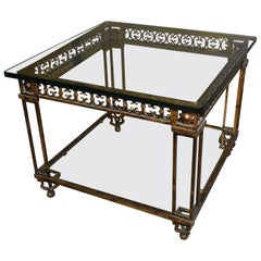 Iron and Glass Top Antique Gold Neoclassical Table with Bottom Shelf