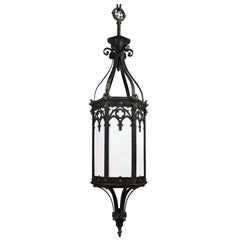 Iron Gothic Lantern Pendant with Iridescent Glass