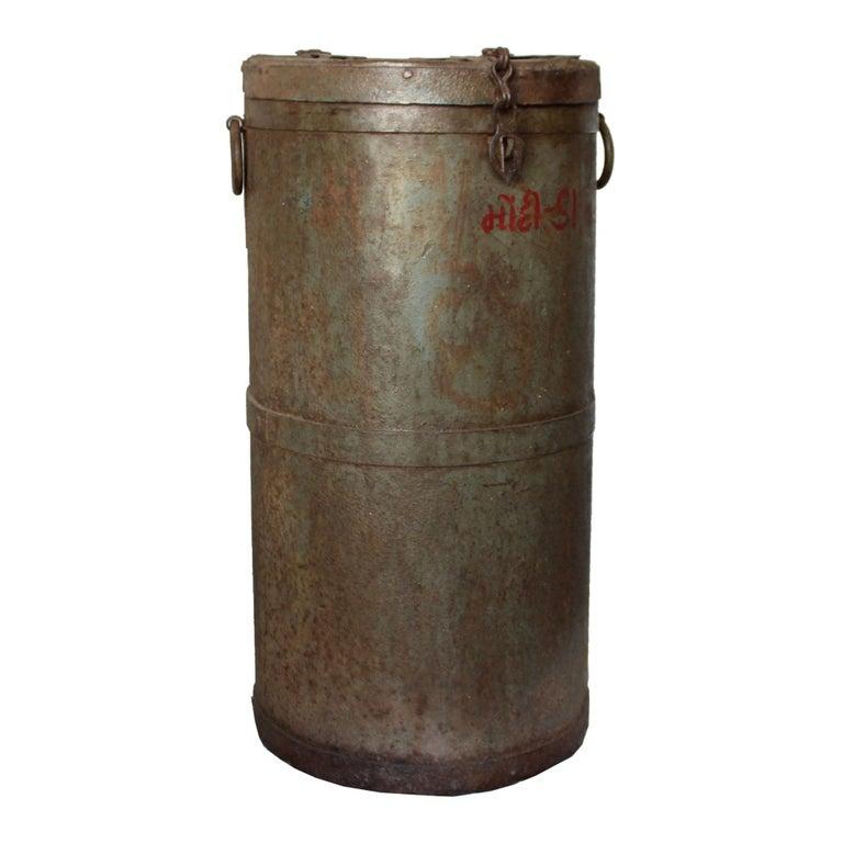 Iron storage container originally used to store grains, India, circa 1940s.