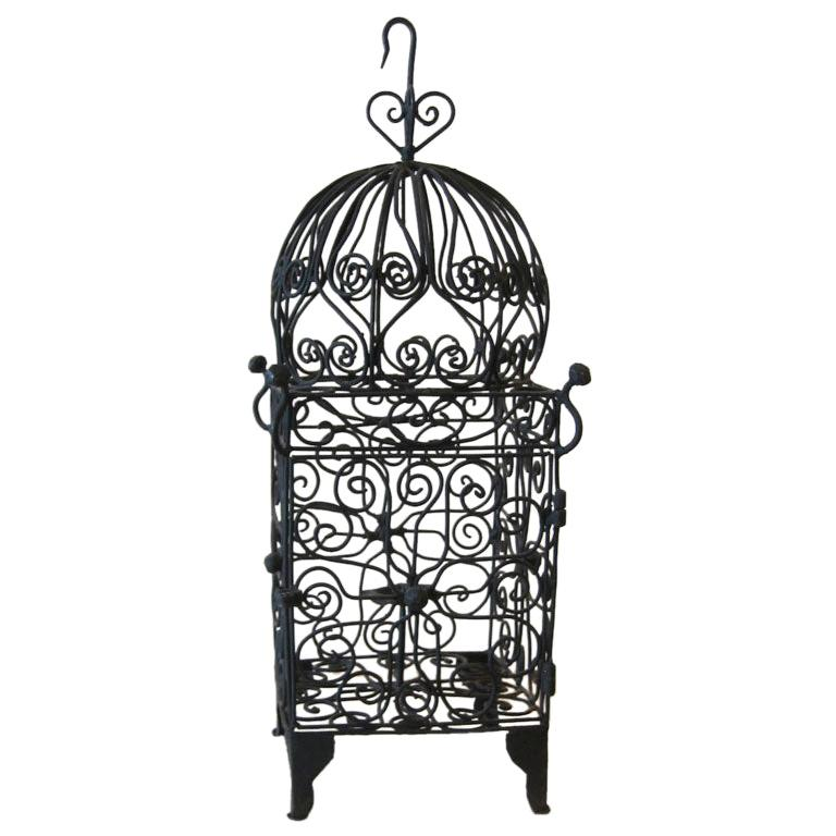Iron Hanging Candle Lantern For Sale