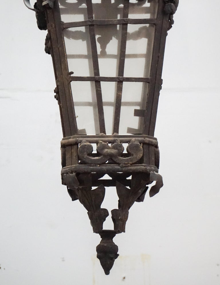 20th Century Iron Hanging Lantern For Sale