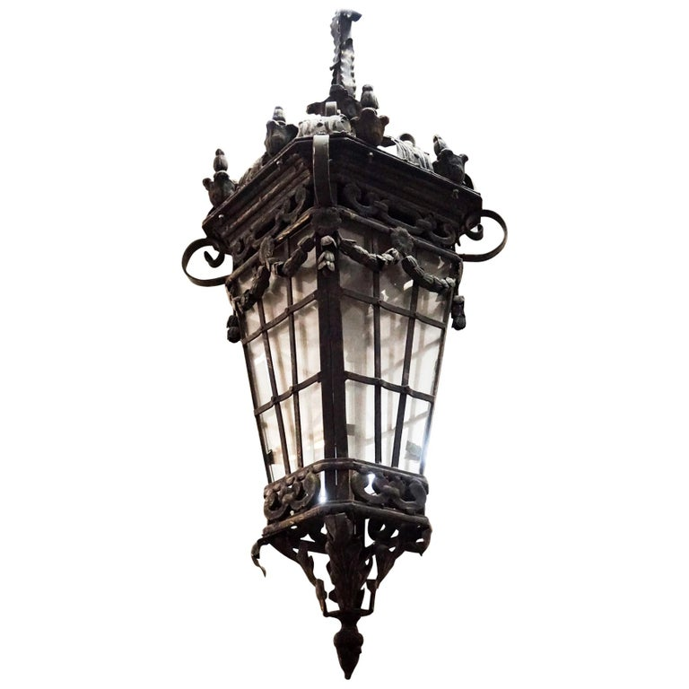Iron Hanging Lantern For Sale