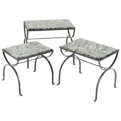 Iron Hollywood Regency Nesting Tables with Onyx Tops