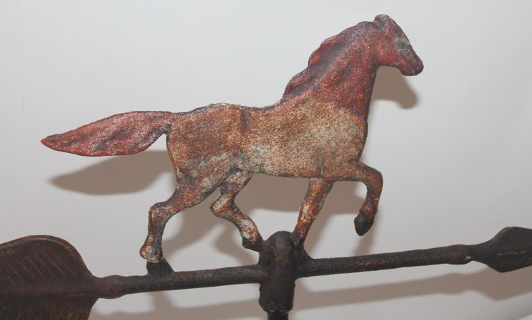 Hand-Painted Iron Horse Weather Vane, Table Top For Sale