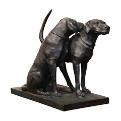 Iron Hunt Labradors Retrievers Sculpture Composition after A. Jacquemart