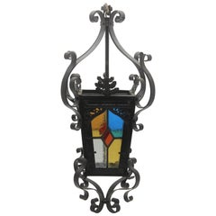 Iron Lantern French, Napoleon III Black with Stained Glass Panels, circa 1910