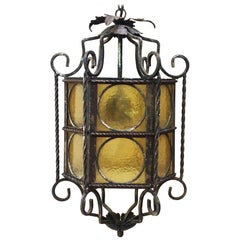 Iron Lantern with Stained Glass, circa 1940