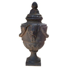 Iron Lidded Finial with Classical Grotesque Cartouches in the Style of Adam