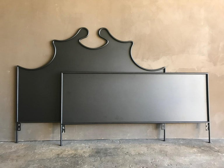 This beautiful Louis XV style iron headboard is part of the custom Tara Shaw Maison collection. Handcrafted in New Orleans. Showroom sample - king size Louis XV iron headboard and footboard with side rails. Minor scratches and scuffs.