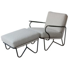 Iron Lounge Chair and Ottoman in Alpaca Boucle Upholstery, U.S.A, 1950s.