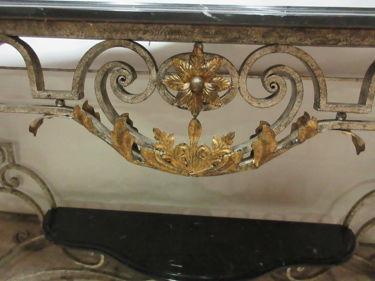 Iron and Marble-Top Console Table 1